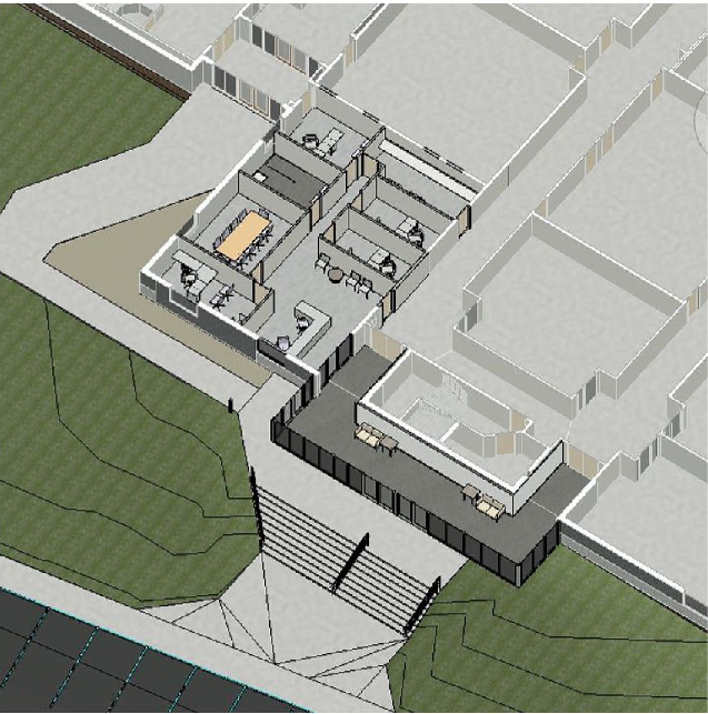 3D View of SCS Office and Entrance